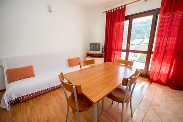 Grebaštica, Jídelna v ubytování typu studio-apartment, WiFi.