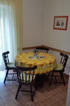 Rab, Jídelna v ubytování typu apartment, domácí mazlíčci povoleni a WiFi.