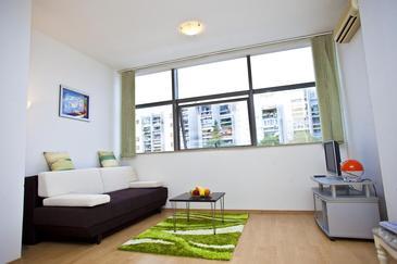 Split, Obývacia izba v ubytovacej jednotke apartment, klimatizácia k dispozícii a WiFi.