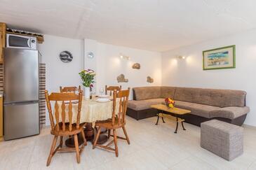 Risika, Obývací pokoj v ubytování typu house, domácí mazlíčci povoleni a WiFi.