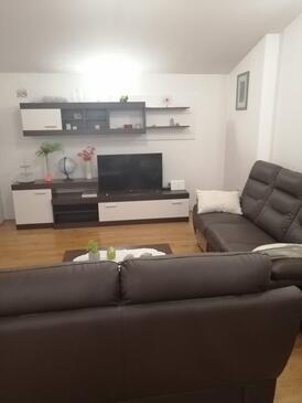 Bibinje, Obývacia izba v ubytovacej jednotke apartment, klimatizácia k dispozícii a WiFi.
