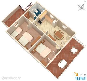 Prižba, Schema nell'alloggi del tipo apartment, animali domestici ammessi e WiFi.