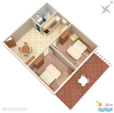Prižba, Plan dans l'hébergement en type apartment, animaux acceptés et WiFi.