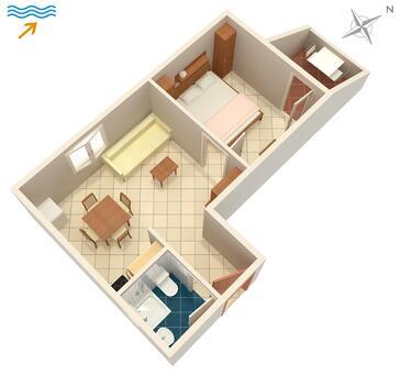 Žrnovska Banja, Plan kwatery w zakwaterowaniu typu apartment, dopusteni kucni ljubimci i WIFI.