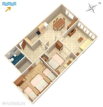 Žrnovska Banja, Plan in the apartment, dopusteni kucni ljubimci i WIFI.