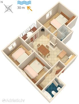 Korčula, Půdorys v ubytování typu apartment, WiFi.