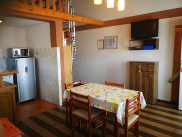 Novi Vinodolski, Jídelna v ubytování typu apartment, s klimatizací a WiFi.
