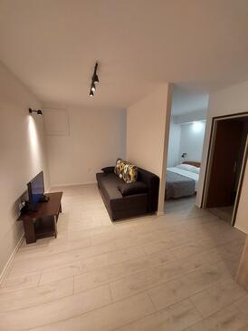 Trpanj, Obývací pokoj v ubytování typu studio-apartment, s klimatizací a WiFi.