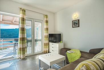 Luka Krnica, Obývací pokoj v ubytování typu apartment, domácí mazlíčci povoleni a WiFi.