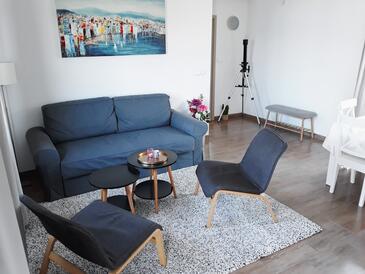 Žrnovo, Obývací pokoj v ubytování typu apartment, s klimatizací a domácí mazlíčci povoleni.