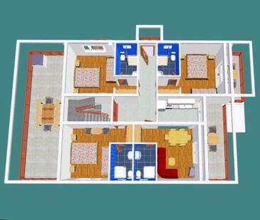 Brgulje, Půdorys v ubytování typu apartment, domácí mazlíčci povoleni a WiFi.