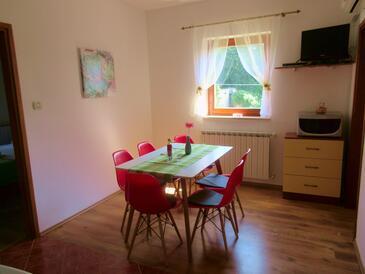 Štrmac, Blagovaonica u smještaju tipa apartment, dostupna klima i WiFi.