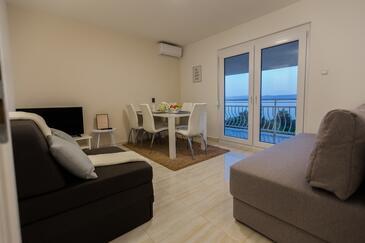 Crikvenica, Obývací pokoj v ubytování typu studio-apartment, s klimatizací a WiFi.