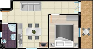 Sukošan, Plan in the apartment, WiFi.