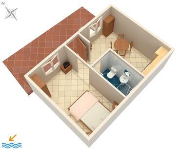 Brna, Půdorys v ubytování typu apartment, WiFi.