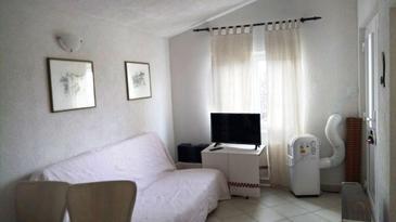 Seline, Wohnzimmer in folgender Unterkunftsart apartment, Klimaanlage vorhanden und Haustiere erlaubt.