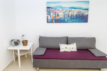 Novalja, Obývací pokoj v ubytování typu house, domácí mazlíčci povoleni a WiFi.