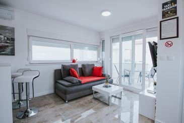 Novalja, Obývací pokoj v ubytování typu studio-apartment, WiFi.
