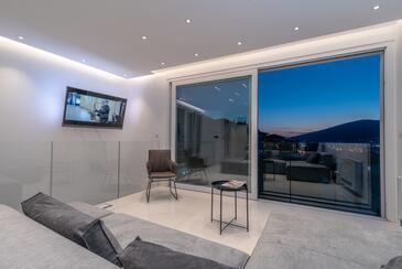 Trogir, Obývací pokoj v ubytování typu house, s klimatizací a WiFi.