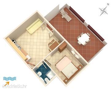 Tri Žala, Půdorys v ubytování typu apartment, WIFI.