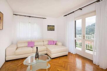 Povlja, Dnevni boravak u smještaju tipa apartment, dostupna klima, kućni ljubimci dozvoljeni i WiFi.