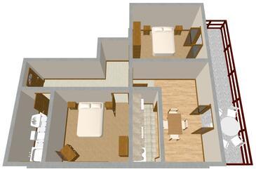 Prižba, Plan kwatery w zakwaterowaniu typu apartment, WIFI.
