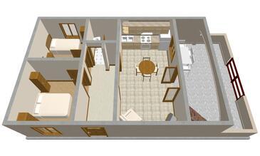 Prižba, Pôdorys v ubytovacej jednotke apartment, dopusteni kucni ljubimci i WIFI.