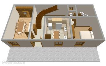 Lumbarda, Půdorys v ubytování typu apartment, domácí mazlíčci povoleni a WiFi.