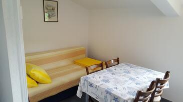 Seget Vranjica, Blagovaonica u smještaju tipa apartment, dostupna klima, kućni ljubimci dozvoljeni i WiFi.