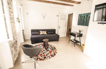 Split, Obývací pokoj v ubytování typu apartment, s klimatizací a WiFi.