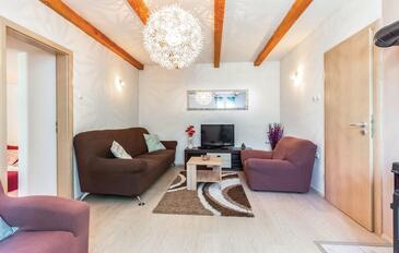 Krasica, Obývací pokoj v ubytování typu apartment, s klimatizací a WiFi.