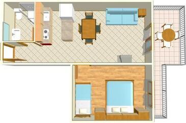 Igrane, Půdorys v ubytování typu apartment, WiFi.