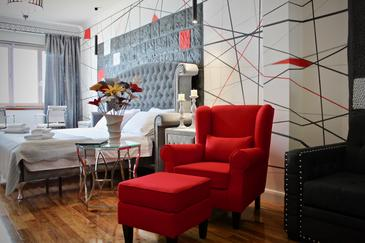 Split, Ložnice v ubytování typu room, s klimatizací a WiFi.