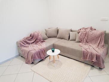 Zadar, Obývací pokoj v ubytování typu studio-apartment, s klimatizací a WiFi.