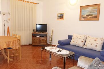 Metajna, Dnevna soba v nastanitvi vrste apartment, dostopna klima, Hišni ljubljenčki dovoljeni in WiFi.