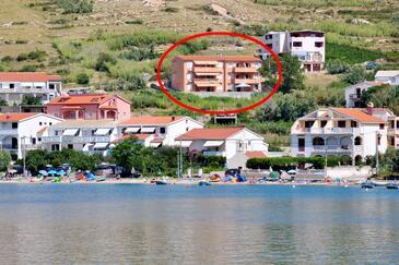 Metajna, Pag, Objekt 18237 - Ubytování s písčitou pláží.