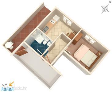 Zavalatica, plattegrond in the apartment, WiFi.
