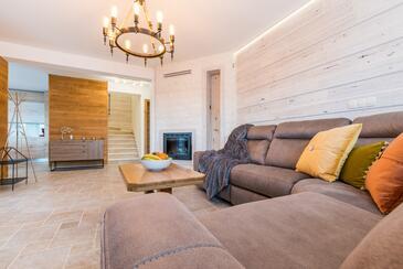 Privlaka, Obývací pokoj v ubytování typu house, s klimatizací a WiFi.