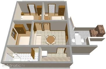 Zavalatica, Půdorys v ubytování typu apartment, domácí mazlíčci povoleni a WiFi.