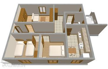 Zavalatica, Pôdorys v ubytovacej jednotke apartment, domáci miláčikovia povolení a WiFi.