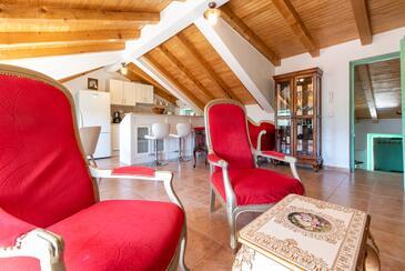 Zagvozd, Obývací pokoj v ubytování typu house, s klimatizací a WiFi.