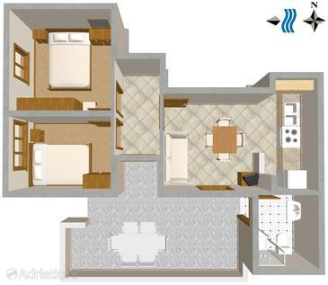 Zavalatica, Grundriss in folgender Unterkunftsart apartment, WiFi.
