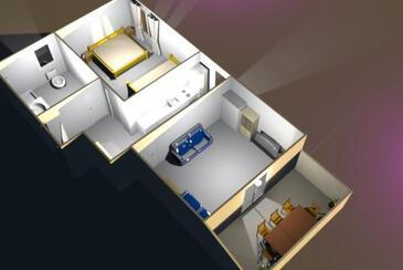Vidalići, Půdorys v ubytování typu apartment, domácí mazlíčci povoleni a WiFi.