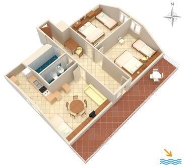 Prigradica, Půdorys v ubytování typu apartment, domácí mazlíčci povoleni a WiFi.