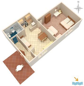 Prigradica, Plan dans l'hébergement en type apartment, animaux acceptés et WiFi.