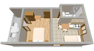 Sućuraj, Půdorys v ubytování typu apartment, domácí mazlíčci povoleni a WiFi.