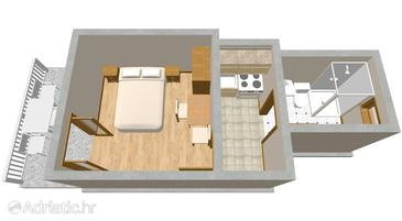 Sućuraj, Plan in the studio-apartment, (pet friendly) and WiFi.