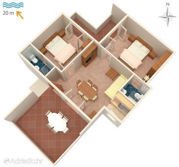 Supetarska Draga - Donja, Plan in the apartment, WIFI.