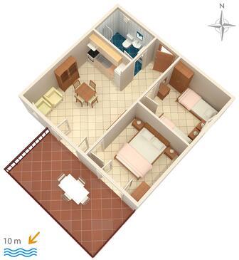 Rogoznica, Nacrt u smještaju tipa apartment, kućni ljubimci dozvoljeni i WiFi.