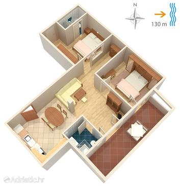 Supetarska Draga - Donja, Schema nell'alloggi del tipo apartment, animali domestici ammessi e WiFi.